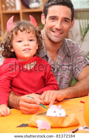 father spending time with his little girl - stock photo