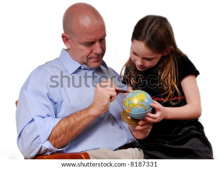 Father Teacher Daughter Geography on Globe - stock photo
