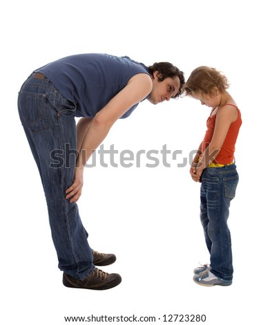 Father teaches his daughter Isolate on white - stock photo