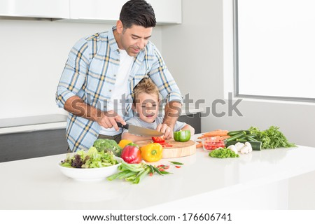 Father teaching his son how to chop vegetables at home in kitchen - stock photo
