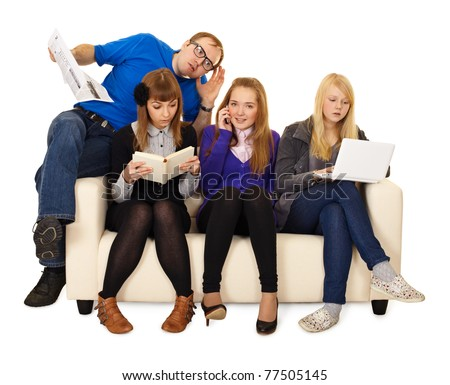 Father watching his daughter and her friends isolated on white background - stock photo