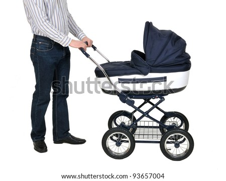 father with baby carriage - stock photo