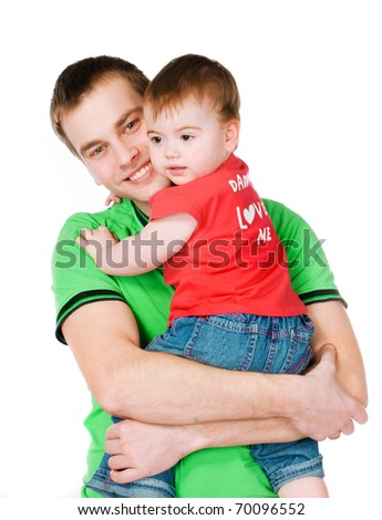 father with baby on a white background