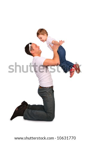 Father with baby playing