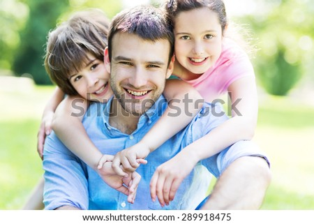 Father with children - stock photo