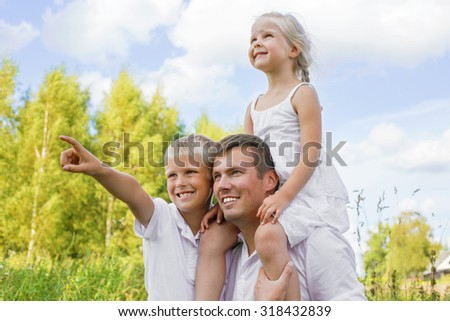 Father with children outdoors