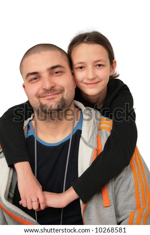 Father with daughter posing
