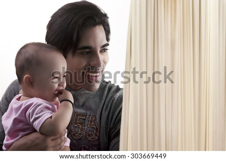Father with his baby - stock photo