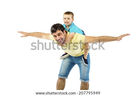 Father with his son isolated on white background