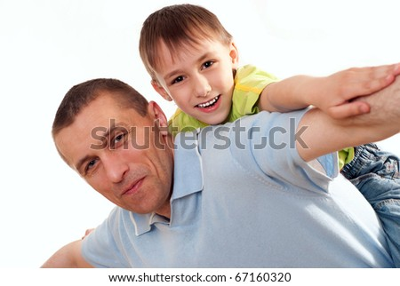 Father with his son on a white background - stock photo