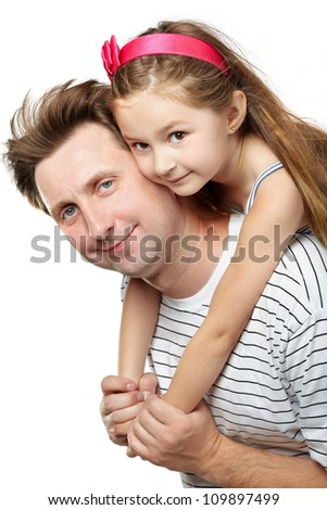 Father with little daughter on his back