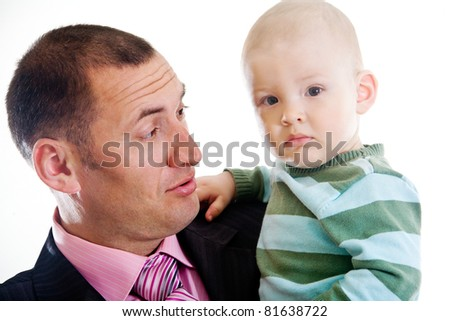 Father with little son isolated on white
