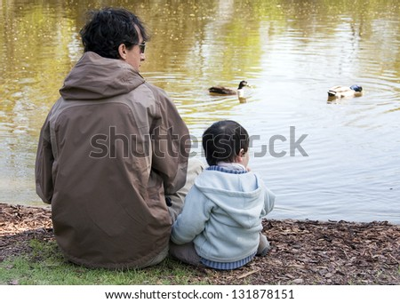 Father with son sitting by a river or a lake feeding and watching ducks, back view. - stock photo