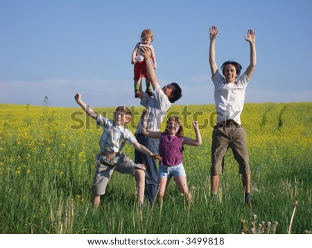father with spring children