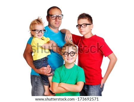 father with three sons wearing glasses isolated on white background
