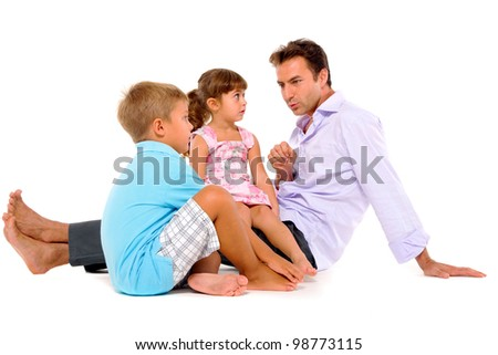 father with two children - stock photo