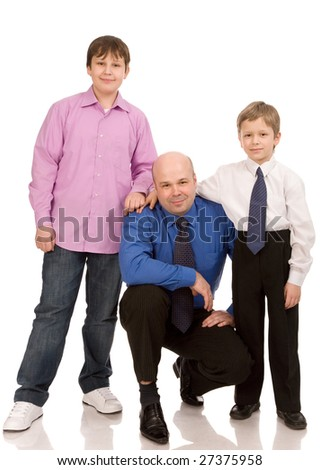 father with two sons on a white background - stock photo