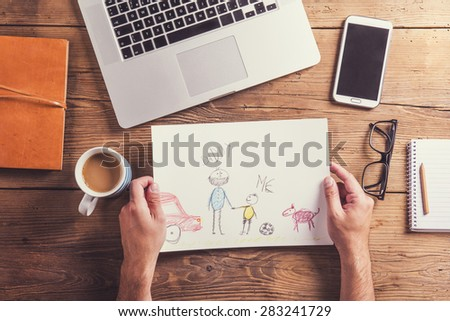 Fathers day composition - office desk. Studio shot on wooden background. - stock photo