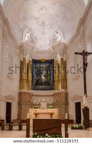 FATIMA, PORTUGAL - OCT 16, 2016: Interior of the Basilica of Our Lady of the Rosary, Sanctuary of Fatima, Portugal. Important destinations for the Catholic pilgrims and tourists