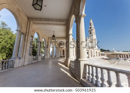 FATIMA, PORTUGAL September 03 , 2016: Details of the old parish church of Fatima. The columns and the corridor.