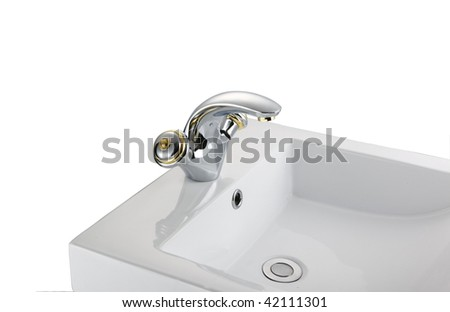 faucet and basin in white background - stock photo
