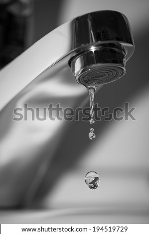 Faucet and falling water drop
