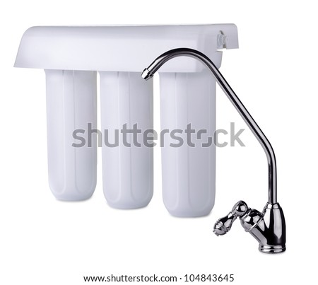 Faucet and water filter isolated on white - stock photo