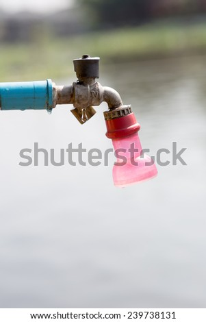faucet ,Defective faucet. Cause wastage of water - stock photo