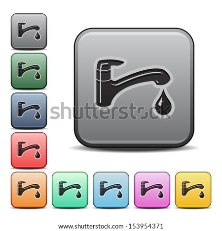 Faucet Icon Square Icon in Various Colors.  Raster version. - stock photo