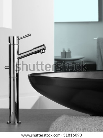 faucet  inside beautiful bathroom - stock photo