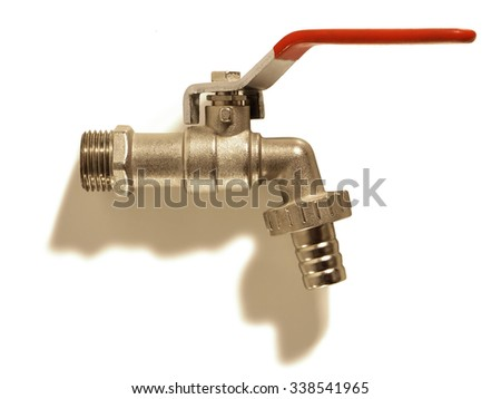 Faucet isolated on white background. - stock photo
