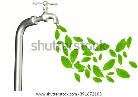 faucet with green leafs isolated on white background. - stock photo