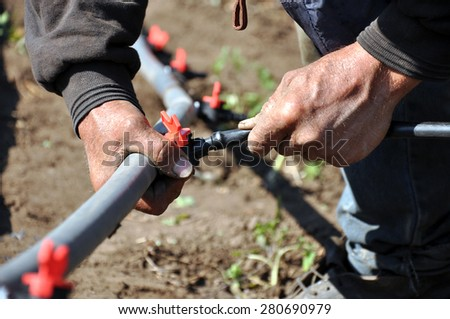 Faucet with red handle for drip irrigation. Drip Irrigation System Close Up. prepared for planting in early Spring. - stock photo
