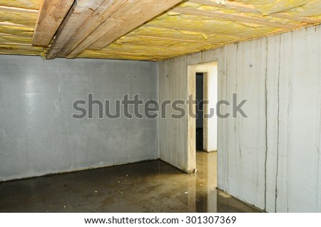 Faulty builded and damp basement in a new building. - stock photo
