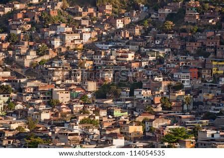 Favela in Rio de Janeiro Brazil - stock photo