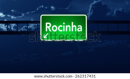 Favela Rocinha Brazil Highway Road Sign at Night - stock photo
