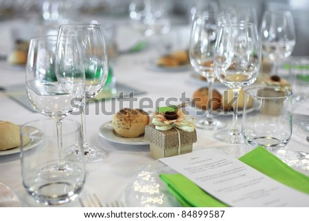 favor on Fancy table set for a wedding - stock photo
