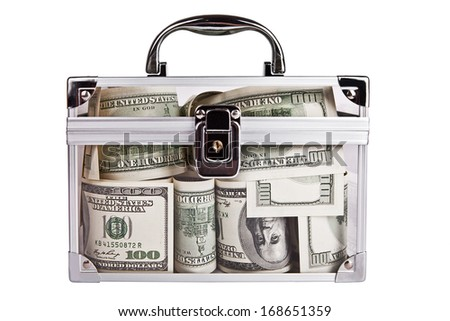 Favorite Bank. Transparent box with dollars - stock photo