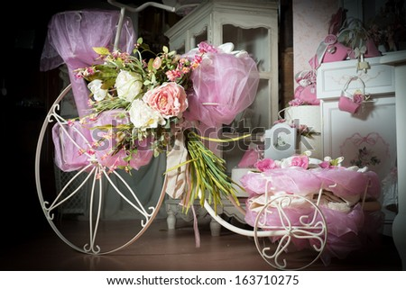 Favors on a table outdoor with boxes for wedding event - stock photo