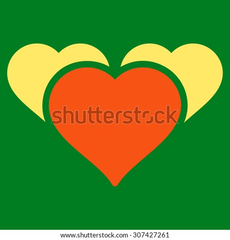 Favourites icon. Glyph style is flat bicolor symbols, orange and yellow colors, rounded angles, green background. - stock photo