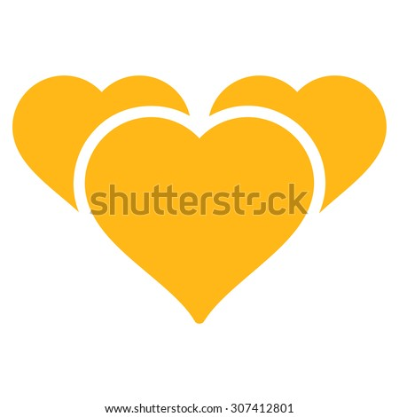 Favourites icon. Glyph style is flat symbols, yellow color, rounded angles, white background. - stock photo
