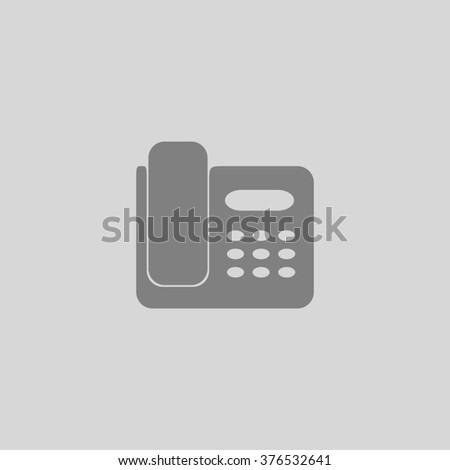 Fax machine. Grey simple flat icon - stock photo