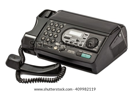 Fax machine isolated on white background - stock photo