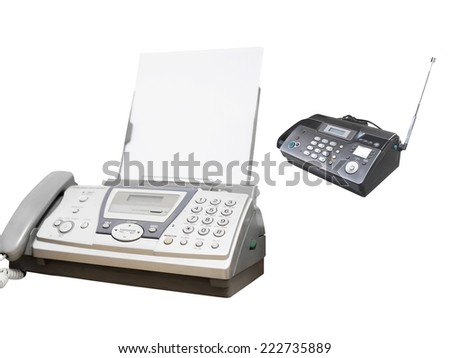fax machine under the white background - stock photo