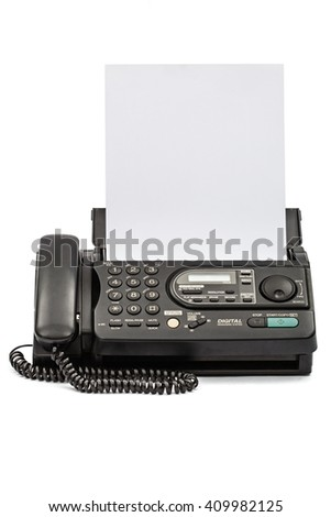 Fax machine with document, isolated on white background - stock photo