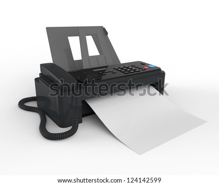 Fax Machine with Paper - stock photo