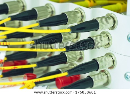 FC type optical fiber cross box with FC pig tail - stock photo
