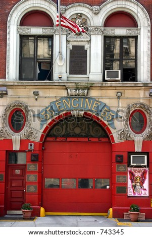 FDNY firehouse in Little Italy (Quarters of Engine 55). - stock photo