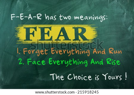 FEAR acronym concept of bravery  choice in life - stock photo