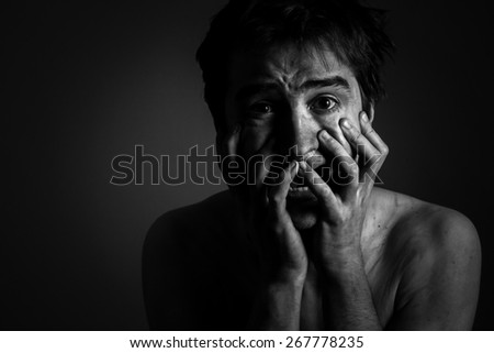 Fear and despair. Portrait of a Man - stock photo
